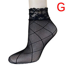 Soft Black Fishnet Mesh Lace Ruffle Socks Stockings Short Ankle Sexy JR
