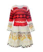 Princess Moana Costume Girls Dress Long Sleeve Cosplay Halloween Party Dress