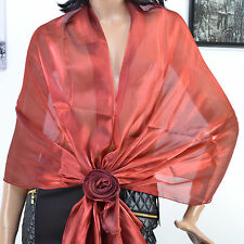 ETOLE BOLERO Femme CHAUFFE EPAULE ROUGE EFFET ORGANZA 190 X 70 CEYLAN