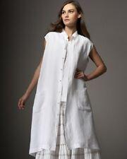 """Eskandar WHITE Light Weight Linen A-Line Stand Collar 42"""" Long Dress (2)"""