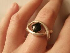 ANELLO ARGENTO 925 CRISTALLO NERO INTRECCIO MISURA 15-55 silver ring J2