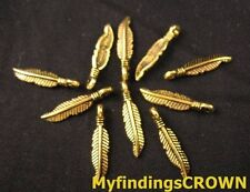 200PCS  Antiqued gold slender feather charms 19x4mm FC127