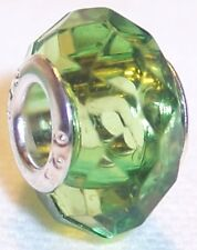 2PC Green Faceted Crystal August Birthstone Beads for European Charm Bracelets