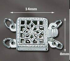 2-Strand Square  .925 STERLING SILVER Filigree Clasp - Beautiful!