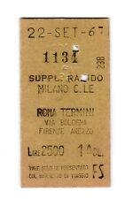 BIGLIETTO TICKET EDMONSON   supp. rapido  MILANO  C.LE  ROMA TERMINI  22-9-1967