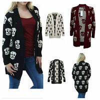NEW WOMENS LADIES SKULL PRINT KNITTED WINTER JUMPER OPEN CARDIGAN PLUS SIZE 8-24