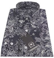Relco Men's Navy Blue Paisley Floral Long Sleeve Button Down Mods Shirt