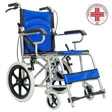 Carrozzina sedia a rotelle a spinta con freno per disabili e anziani da transito