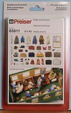 Preiser 65811, Spur 0, Koffer und Taschen Bausatz aus Kunststoff, unbemalt