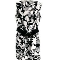Peter Nygard Women Dress Size 8 Black White Belted Sleeveless Fitted