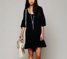 170548 New $128 Free People Daisy Lace Black Tiered Round Neck Dress Large L