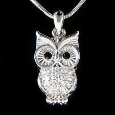 w Swarovski Crystal ~Black Guardians OWL~ Hawk Wise wisdom Bird Pendant Necklace