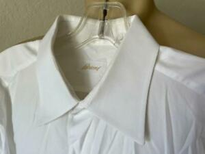 "BRIONI Men's White Woven Long Sleeve Button Up Dress Shirt Size 16 1/2-35""  $400"