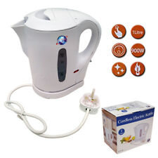 1 LITRE 830W ELECTRIC CORDLESS KITCHEN KETTLE CARAVAN TRAVEL HOT WATER WHITE JUG