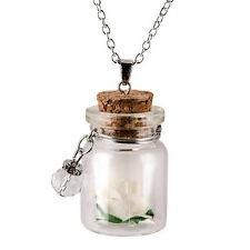 Mini Jewelry Gift Fluorescent Vintage Wishing Bottle Flower Necklace Glowing White