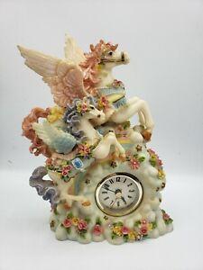 Unicorns on the Clouds Rainbow Mantle Quartz Table Clock 3D Resin Nursery Clock