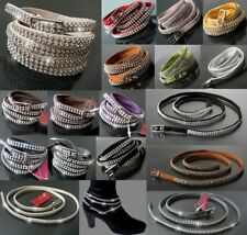 Gürtel 87-100cm Damengürtel Strass Stiefelband Armband LederLook Damen VA12#