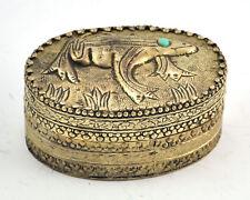Vintage Chinese Shard Box Tibetan Silver Trinket Treasure Jewelry Mirror Frog