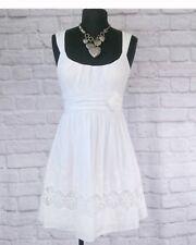 City Triangles Womens Dress Sz 9 White Crochet Lace Insert Rosette Spring Summer