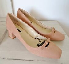 ZARA NUDE PINK SUEDE EFFECT MID HEEL SHOES WITH BOW DETAIL SIZE UK 8 EU 41