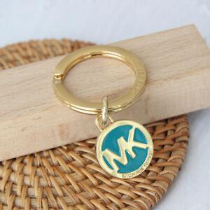 MICHAEL KORS MK LOGO TAG CHARM Key Fob Chain GOLD / Blue  NEW & AUTH