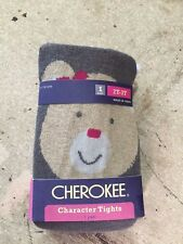 nwt CHEROKEE character TIGHTS bear on behind 2T-3T cable knit