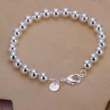 XMAS wholesale sterling solid sliver chic 8mm ball chain bracelet SB878 + box