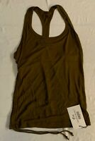 ZYIA Active Women's Vida Scrunchy Racer Tank Top Olive MM1 Size XL NWT
