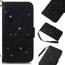 Card Holder Leather Flip Wallet Case Cover Stand Diamond Floral For Various