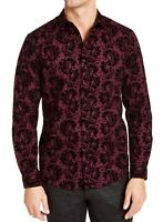 INC Mens Shirts Purple Black Size XL Velvet Flocked Paisley Button Down $69 140