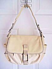 FURLA Purse Bag Satchel Cream White Nylon and Genuine Leather Suede Trim Small