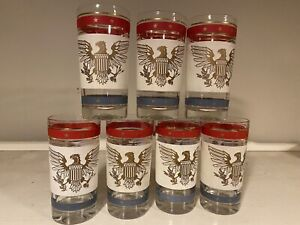 Vtg July 4th Patriotic American Eagle Mid Century Drinking Glass