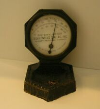 Vintage Coal Advertising Iron Thermometer - Metal Antique Desk Thermometer