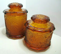 """Set of 2 Vintage Tiara Amber Indiana Sandwich Glass Canisters ~ 6"""" and 7.5"""" EUC"""