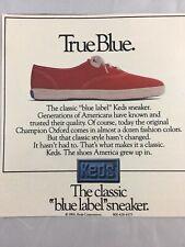 1984 Keds Tennis Shoes SneakersVintage Print Ad Advertisement Classic Blue Label