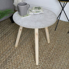 Rustic round occasional side table vintage boho chic living room furniture home