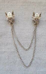 Wolf Metal Shirt Chain Lapel Pins.Silver Formal Gothic Steampunk Fancy Dress