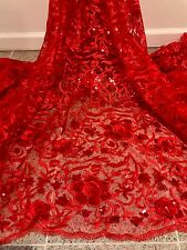 "RED EMBROIDERY SEQUINS RHINESTONE BEIDAL LACE FABRIC 50"" WiIDE 1 YARD"