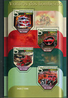 Sao Tome & Principe 2015 MNH Fire Engines 4v M/S Trucks Renault Twizy Stamps