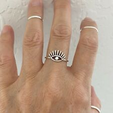 Sterling Silver Big Eye Ring, Eye Lashes Ring, Silver Ring, Evil Eye Ring