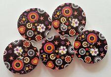 5 30mm Nero Multicolore Cerchi fiori cuore Star Pattern 4 Fori Bottoni Legno