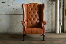 VINTAGE TAN BROWN LEATHER DEEP BUTTONED HIGH BACK CHESTERFIELD WING CHAIR