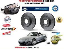 Para Mazda MX5 1.8 2.0 NC 2005-2014 Delantero Discos De Freno De Rendimiento Set + Kit de almohadillas