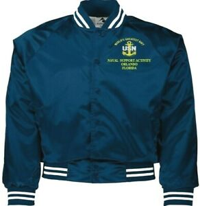 NAVAL SUPPORT ACTIVITY ORLANDO FLORIDA  NAVY EMBROIDERED 2-SIDED SATIN JACKET