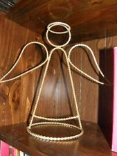 """2874) Twisted Rope Wire Angel Gold Tone 12.5"""" Tall 13.75"""" Longest 6.5"""" Dia Base"""