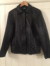 Ladies Black Leather Lined Jacket Coat By United Colours Of Benetton Size 12