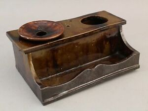 RARE Antique Early 19thC Stoneware Handmade Desktop Inkwell Writing Inkstand