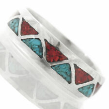 Navajo Wedding Band Inlaid Turquoise Coral Ring for Men or Women
