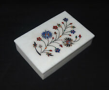 Marble Lapis Handmade Paua Shell Jewelry Box Floral Inlaid Gifts Home Decor Art