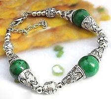 New Fashion Beautiful Handmade Tibetan silver green jade bracelet